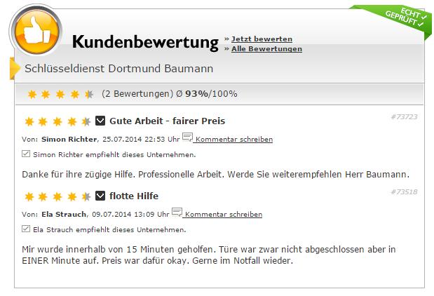 Schlüsseldienst Dortmund Bewertung